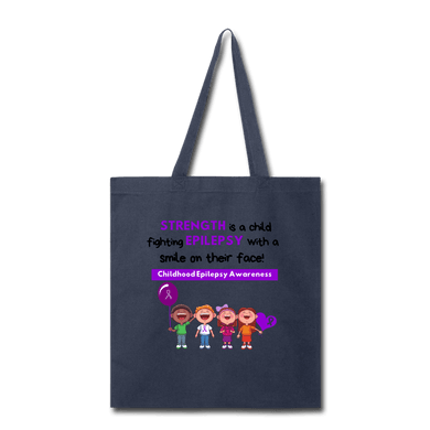 Strength is a Child Fighting Epilepsy Tote Bag - navy