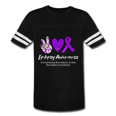 Epilepsy Peace Love & Awareness Men's Sport T-Shirt - black/white