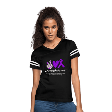Epilepsy Peace Love & Awareness Women's Sport T-Shirt - black/white