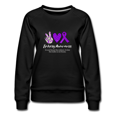 Epilepsy Peace Love & Awareness Women's Sweatshirt - black