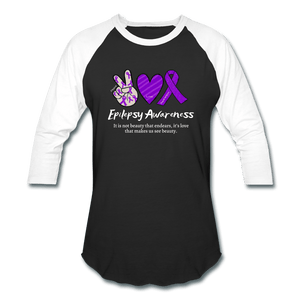Epilepsy Peace Love & Awareness Baseball T-Shirt - black/white