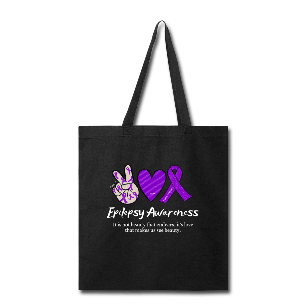 Epilepsy Peace Love & Awareness Tote Bag - black