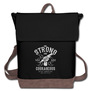 Be Strong and Courageous Canvas Backpack - black/brown