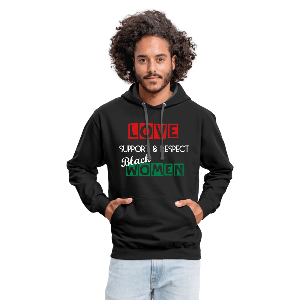 Love Support & Respect Black Women Contrast Hoodie - black/asphalt