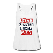 Load image into Gallery viewer, 'Love Support Black Men' Women's Flowy Tank Top - white