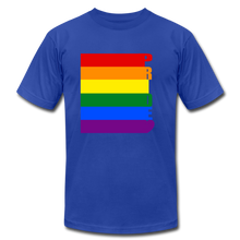 Load image into Gallery viewer, Pride Flag Jersey T-Shirt. - royal blue