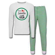 Load image into Gallery viewer, Dear Santa Unisex Pajama Set - white/green stripe