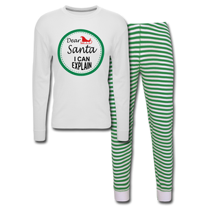 Dear Santa Unisex Pajama Set - white/green stripe