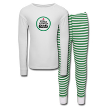 Load image into Gallery viewer, Dear Santa I've Been Good Kids' Pajama Set - white/green stripe