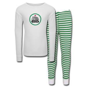 Dear Santa I've Been Good Kids' Pajama Set - white/green stripe