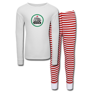 Dear Santa I've Been Good Kids' Pajama Set - white/red stripe
