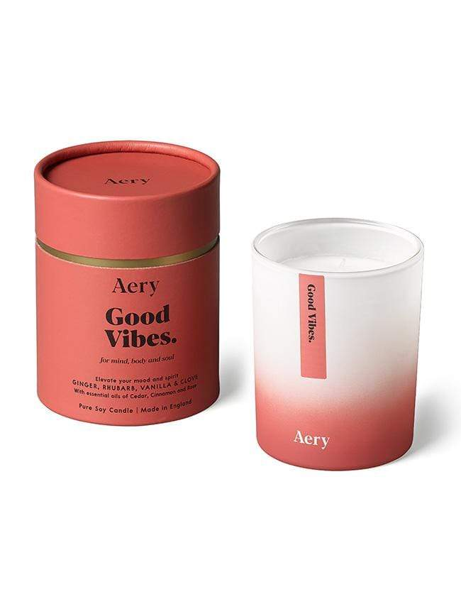 Aery Living christmas gift ideas Good Vibes Candle - Ginger Rhubarb Vanilla With essential oils of Cedar, Cinnamon and Rose