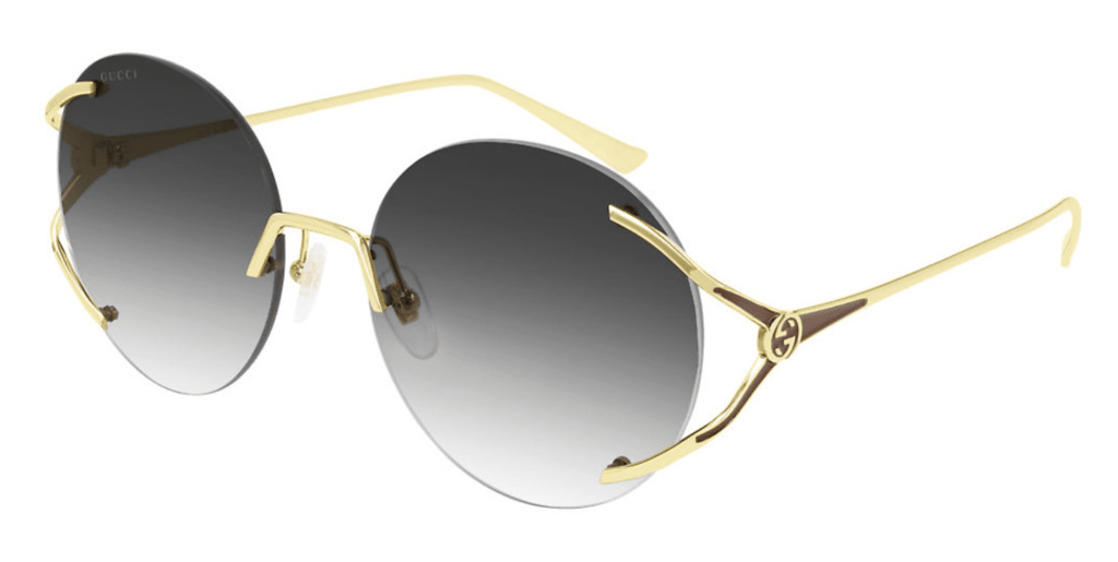 Gucci sunglasses 001 dark grey lens with gold arms Gucci GG0645s Round Rimless Ladies Sunglasses