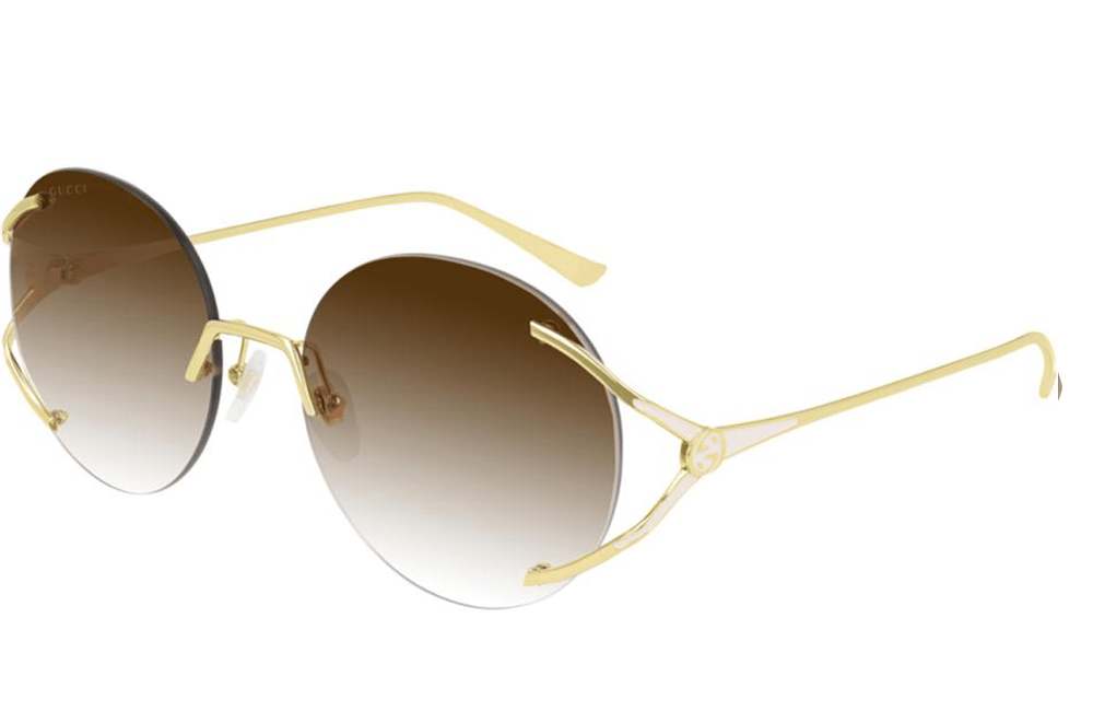 Gucci sunglasses 002 gold frame with brown graduated lens Gucci GG0645s Round Rimless Ladies Sunglasses