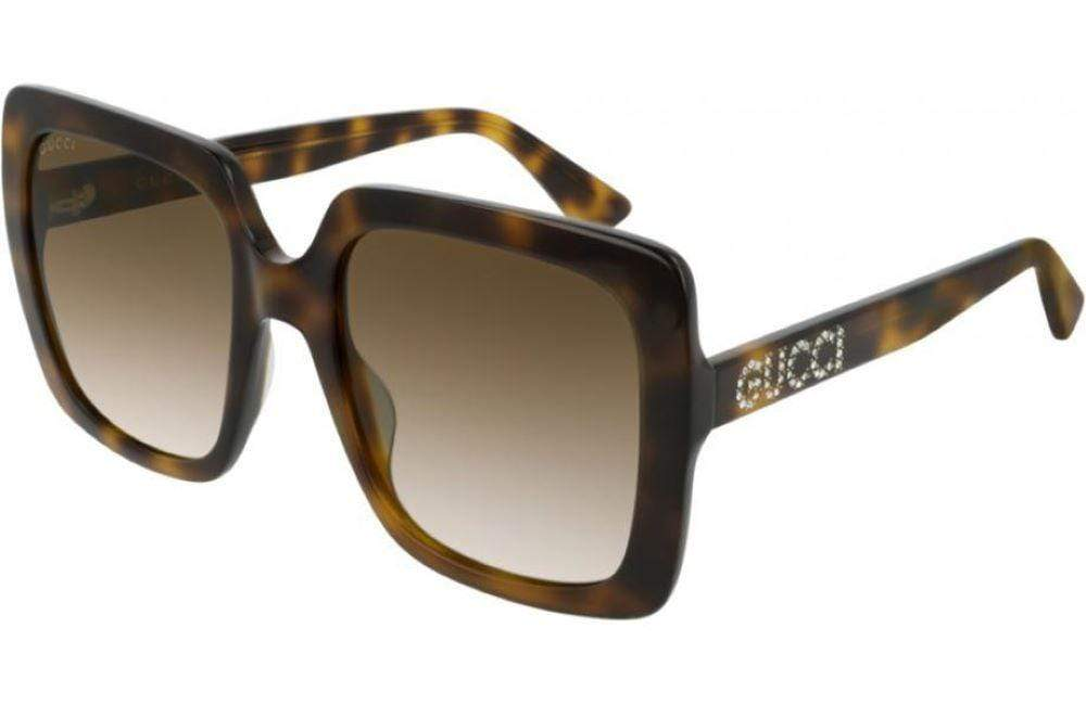 Gucci sunglasses 003 Havana brown frame with brown graduated lens Gucci Big Square GG00418S Sunglasses