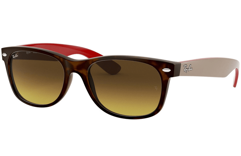 Ray-Ban sunglasses 55mm / 618185 matt havana/cream/red arm/brown graduated lens Ray-Ban New Wayfarer Sunglasses RB2132 55mm