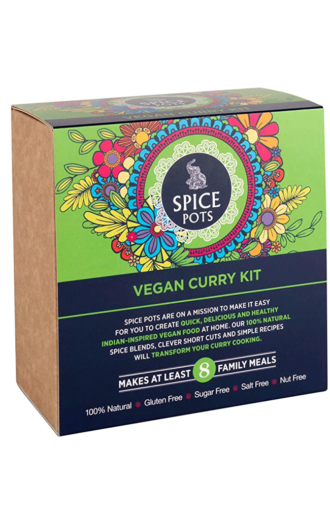 Spice Pots christmas gift ideas Vegan Curry Kit - 4 CURRY POWDERS AND A BOOKLET WITH 8 VEGAN RECIPES