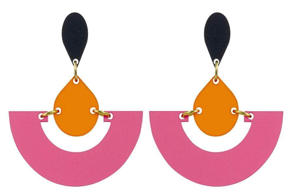 Toolally jewellery Toolally Fan Orange & Pink Earrings