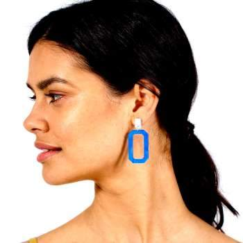 Toolally jewellery Toolally Octagons Blue Marble Earrings