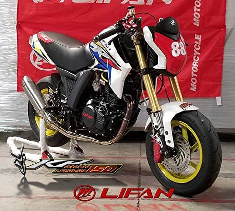 Upgraded exhaust system for Lifan KP-mini LF150-5U motorcycle. Upgraded performance racing exhaust for Lifan 150cc motorcycle