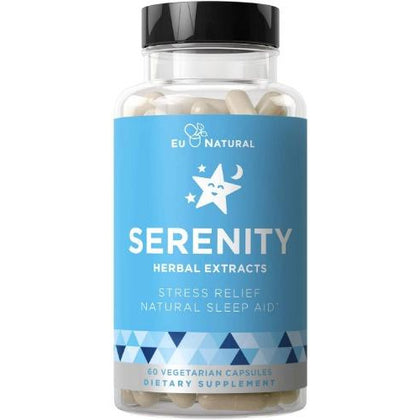Serenity Natural Sleep Aid & Anxiety Support – Drift Off & Fall Asleep Without Being Groggy – Non-Habit Sleeping Pills – Magnesium, Valerian Root, – 60 Vegetarian Soft Capsule