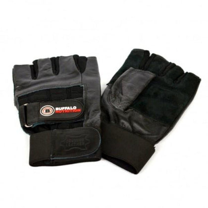Buffalo Nutrition Leather Training Gloves with Wraparound Wrist Support (Pair)