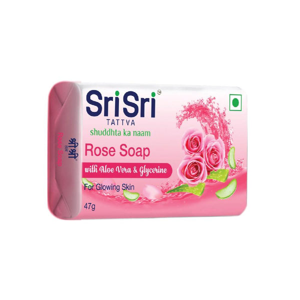Rose Soap with Aloe Vera & Glycerine - For Glowing Skin, 47g