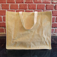 Shopping Bag - White and Green Lining