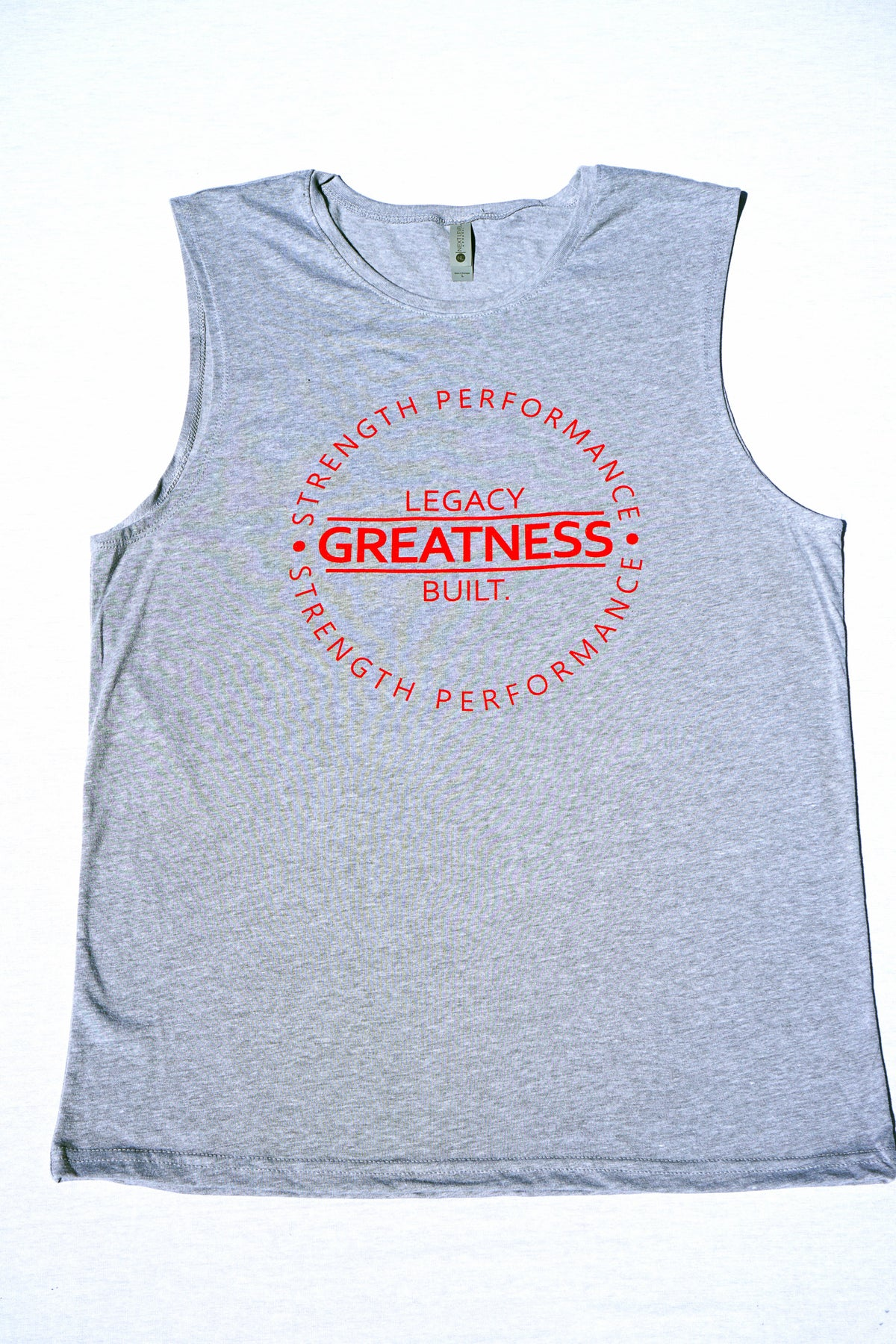 GREATNESS SLEEVELESS TANK - HEATHER GREY - LEGACY BUILT. APPAREL