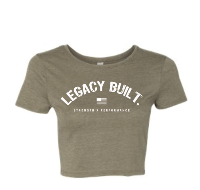 Legacy Built Crop Tee - Military Green - LEGACY BUILT. APPAREL