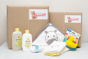 Baby bathtime Kit with toiletries, towels and bath toy