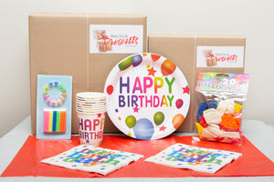 Basic party pack with plates, cups, serviettes, tablecloth, balloons and candles