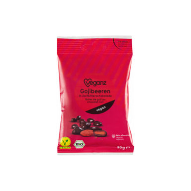 Vegan organic dark chocolate with goji berries