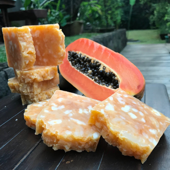 All-natural handmade soap with papaya