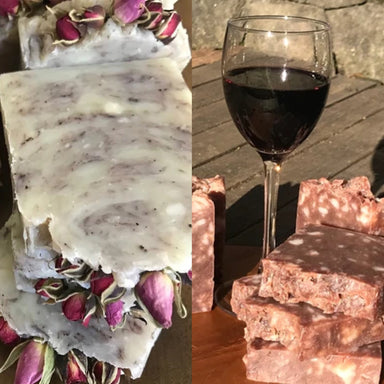 All-Natural Handmade soaps with Red Wine and Rose