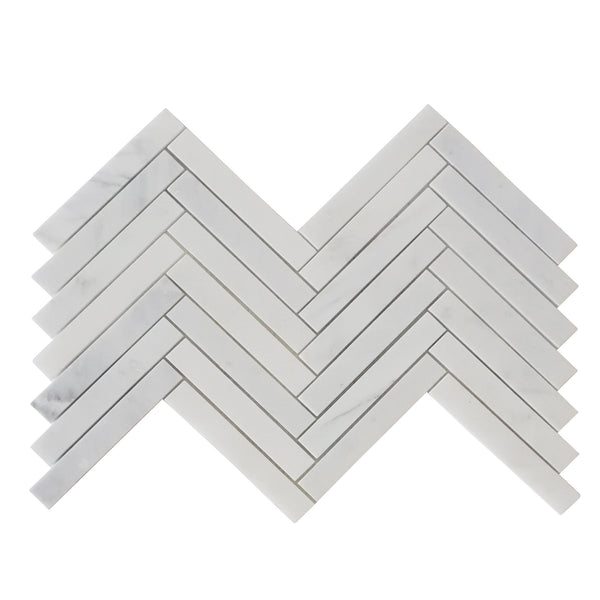 "1"" x 6"" Crystal Cloud Herringbone Mosaic"