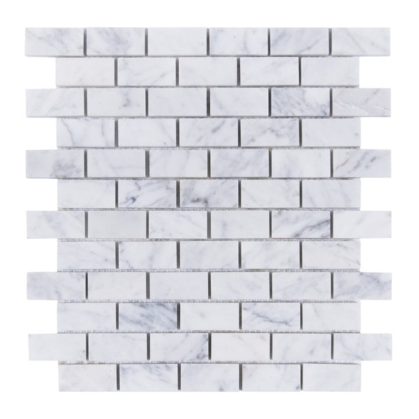 "1"" x 2"" Carrara White Brick Mosaic"