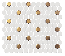 "1"" x 1"" Hex: White & Gold"