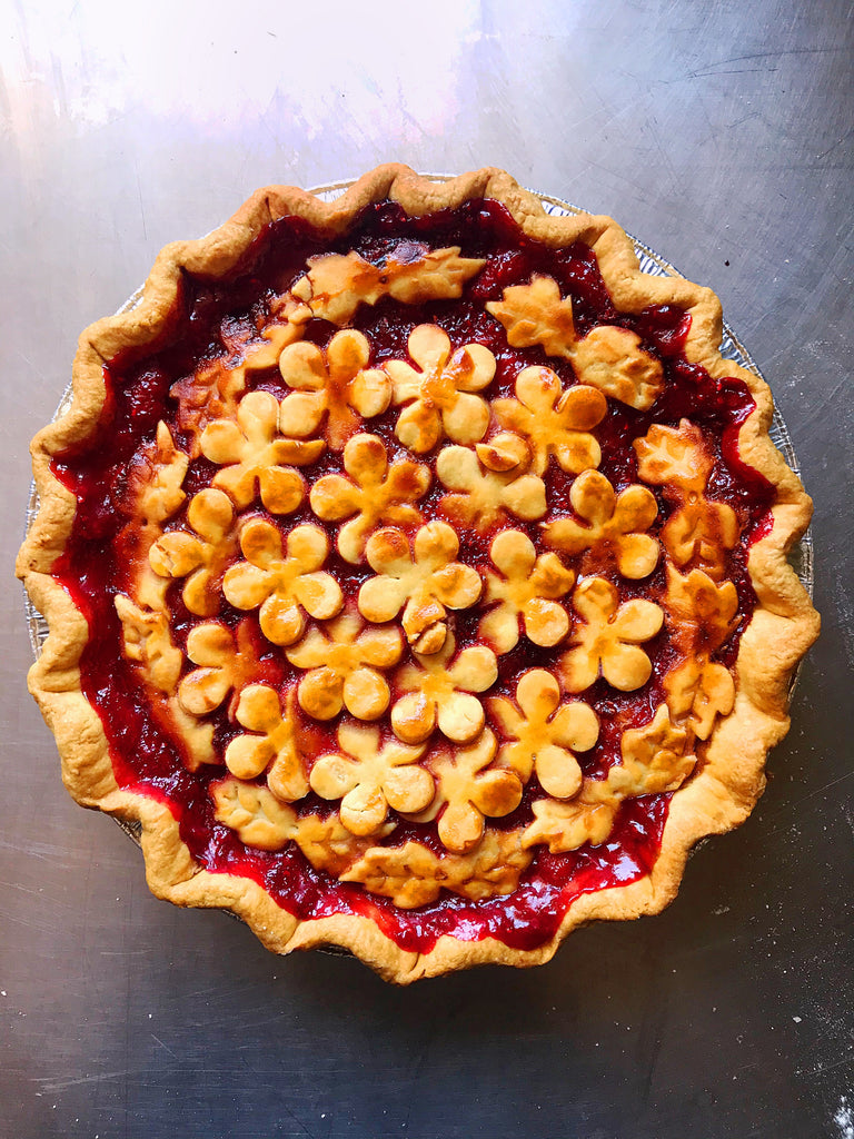 White Peach Raspberry Ginger Pie