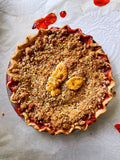 Strawberry Peach Pie with Almond Crumble