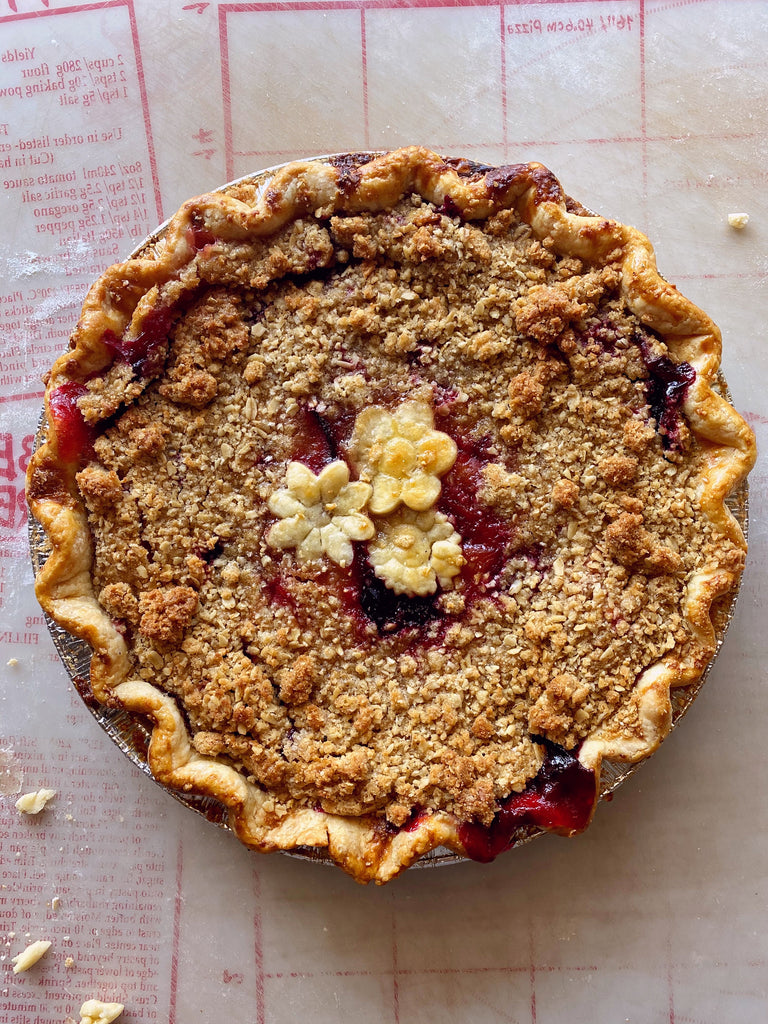 Whiskey Plum Crumble Pie
