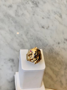 14K Tiger Head Ring