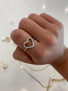 Solid 14K White Gold Heart Ring