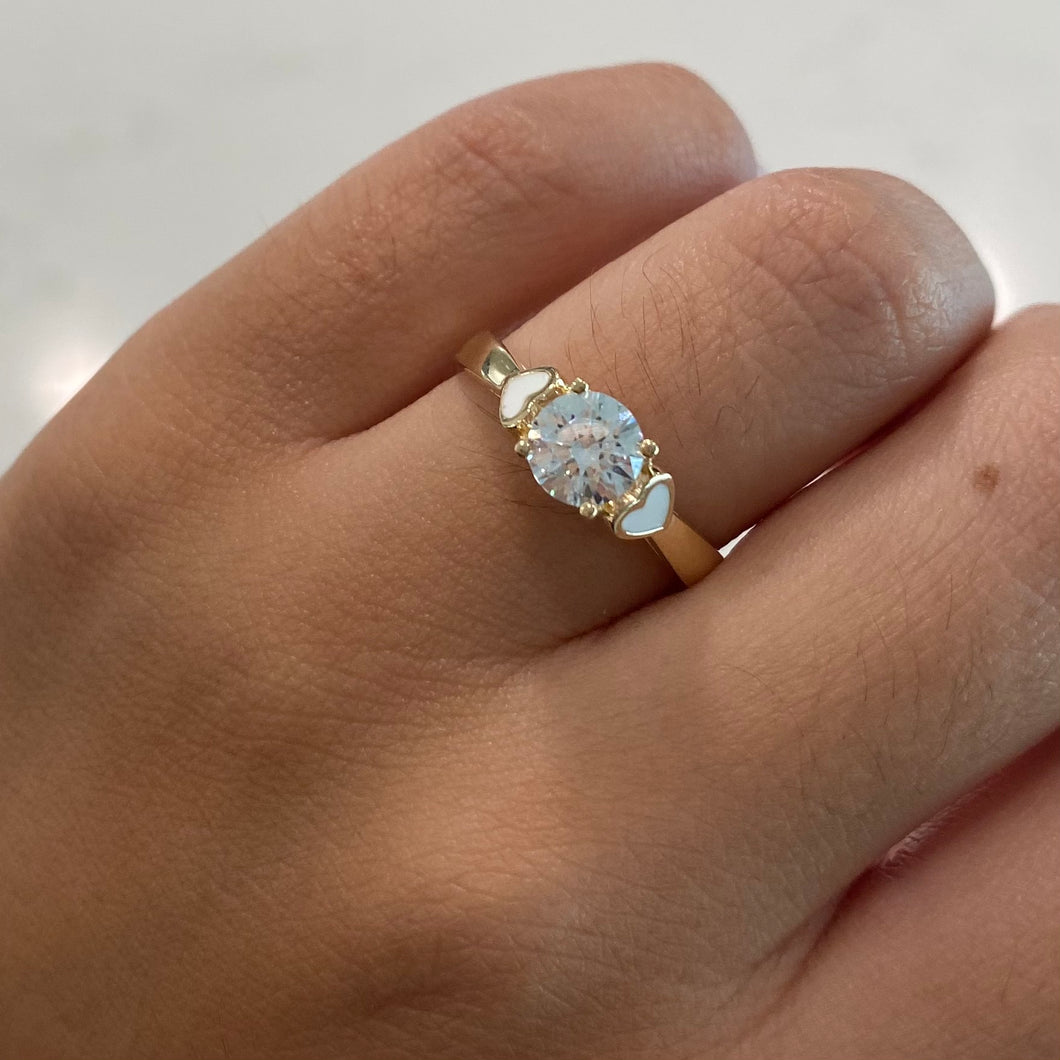 14K CZ Ring w/ Double Hearts