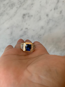 14K Blue CZ Square Ring