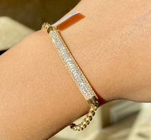 Load image into Gallery viewer, 14K CZ Tube ID Bracelet