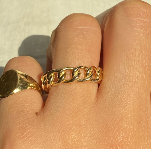 14K Cuban Link Eternity Ring