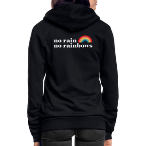 No Rain No Rainbows Zip Hoodie - black