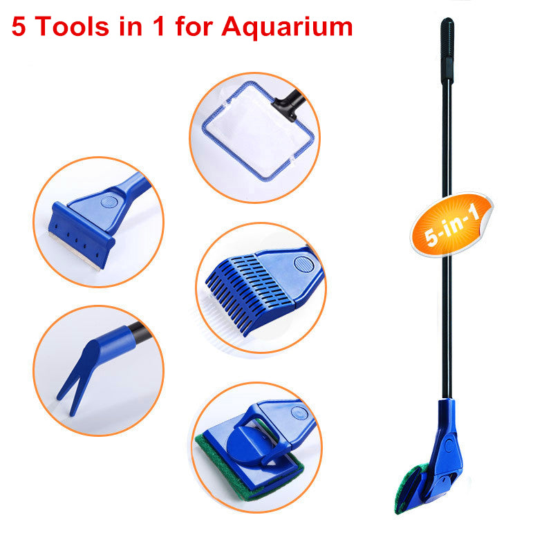 Aquarium Cleaning 5 In 1 Set Fish Net Gravel Rake Fork Sponge Brush Glass Cleaner