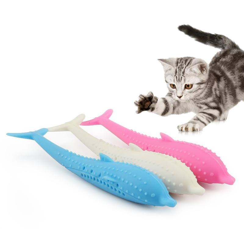 Soft Silicone Fish Cat Toy Clean Teeth Toothbrush Chew